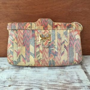 Vintage Lisette Printed Leather Purse or Clutch